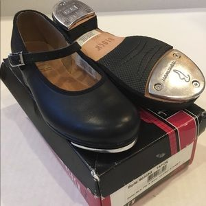 Bloch Black Leather Tap Shoes Size 10.5 Girls kids